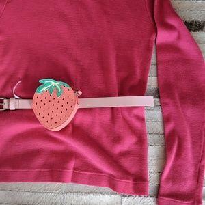 Strawberry belt pack fanny pack, pink belt